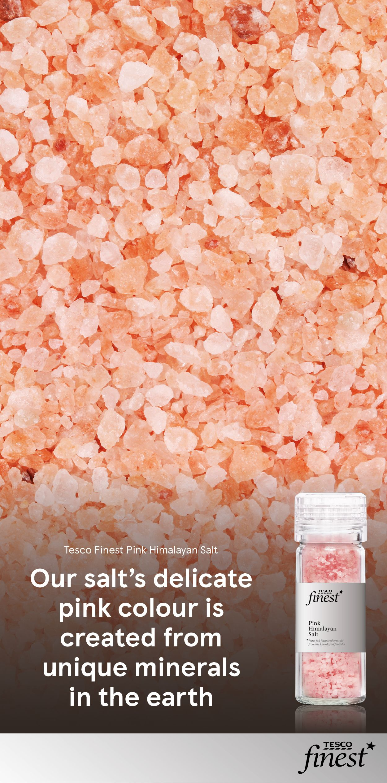 The pink colour of our Tesco Finest Himilayan salt is