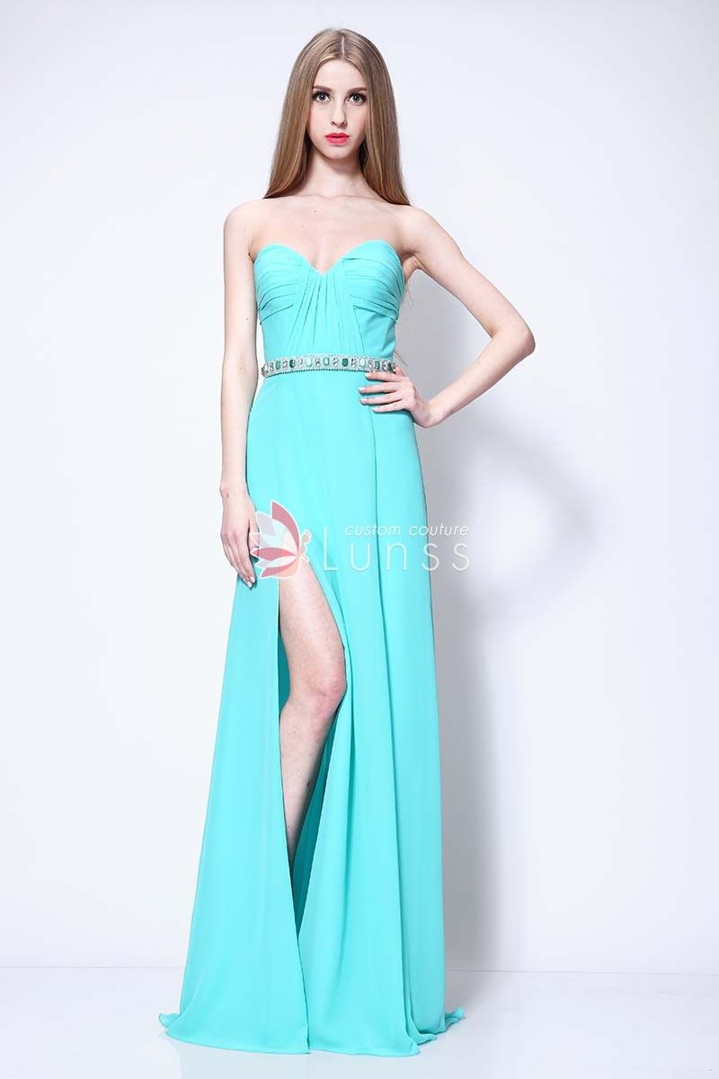 11e8c3da3686 Strapless Sweetheart Side Slit Sky Blue Chiffon Prom Dress in 2019 ...