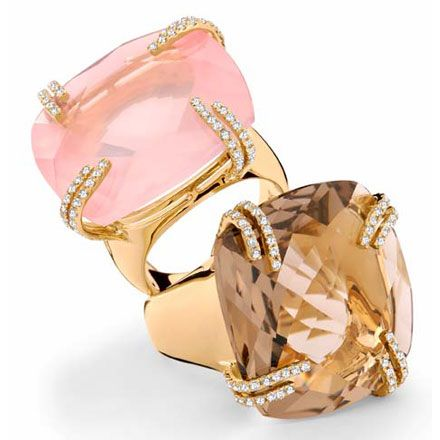 'Candy Terracotta' by Brumani / yellow gold with white diamonds, pink and smokey quartz