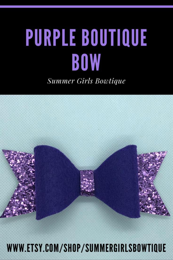 Purple Boutique Bow Boutique Bows Purple Hair Bows Felt Bows
