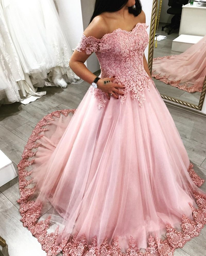 Pink Tulle Sweetheart Ball Gown Wedding Dresses Lace Off The ...