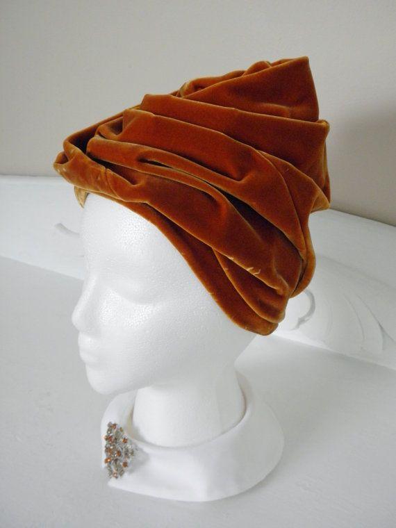Vintage Copper Orange Velvet Hat Sonni Stack by GrandVintageFinery, $58.00
