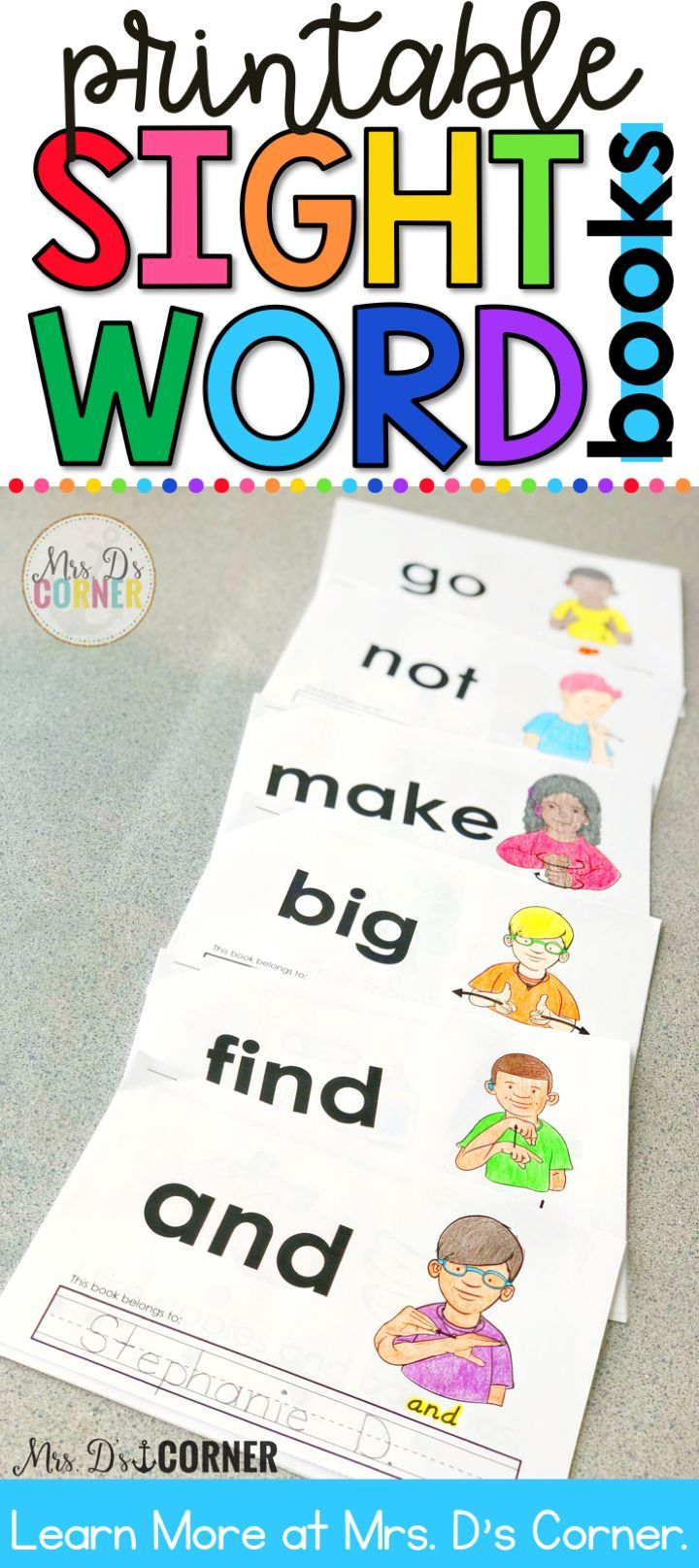 Printable interactive sight word books for special ed