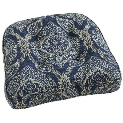 Tufted Large Contour Chair Cushion In Keegan Indigo