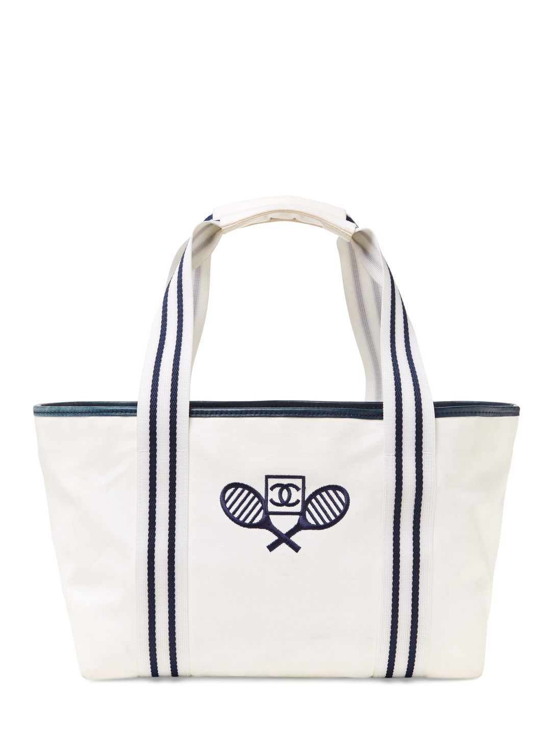 e70b652ccd6b9d Chanel / White & Navy Canvas Tennis Tote via Gilt Tennis Bags, Tennis  Clothes,