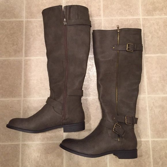 Boots Grayish brown tall boots. Brand new. Never worn. Very stylish. JustFab Shoes Winter & Rain Boots