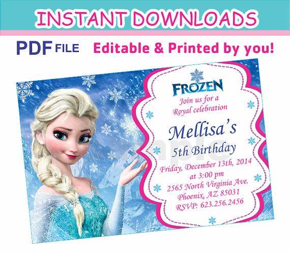 Editable Pdf Instant Download Frozen By Quicknfunprintables Frozen Invitations Frozen Birthday Party Invites Frozen Birthday Invitations