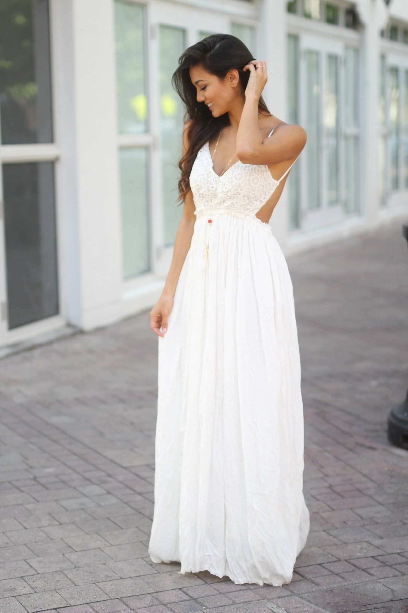 White Lace Maxi Dress with Open Back and Frayed Hem | Pinterest ...