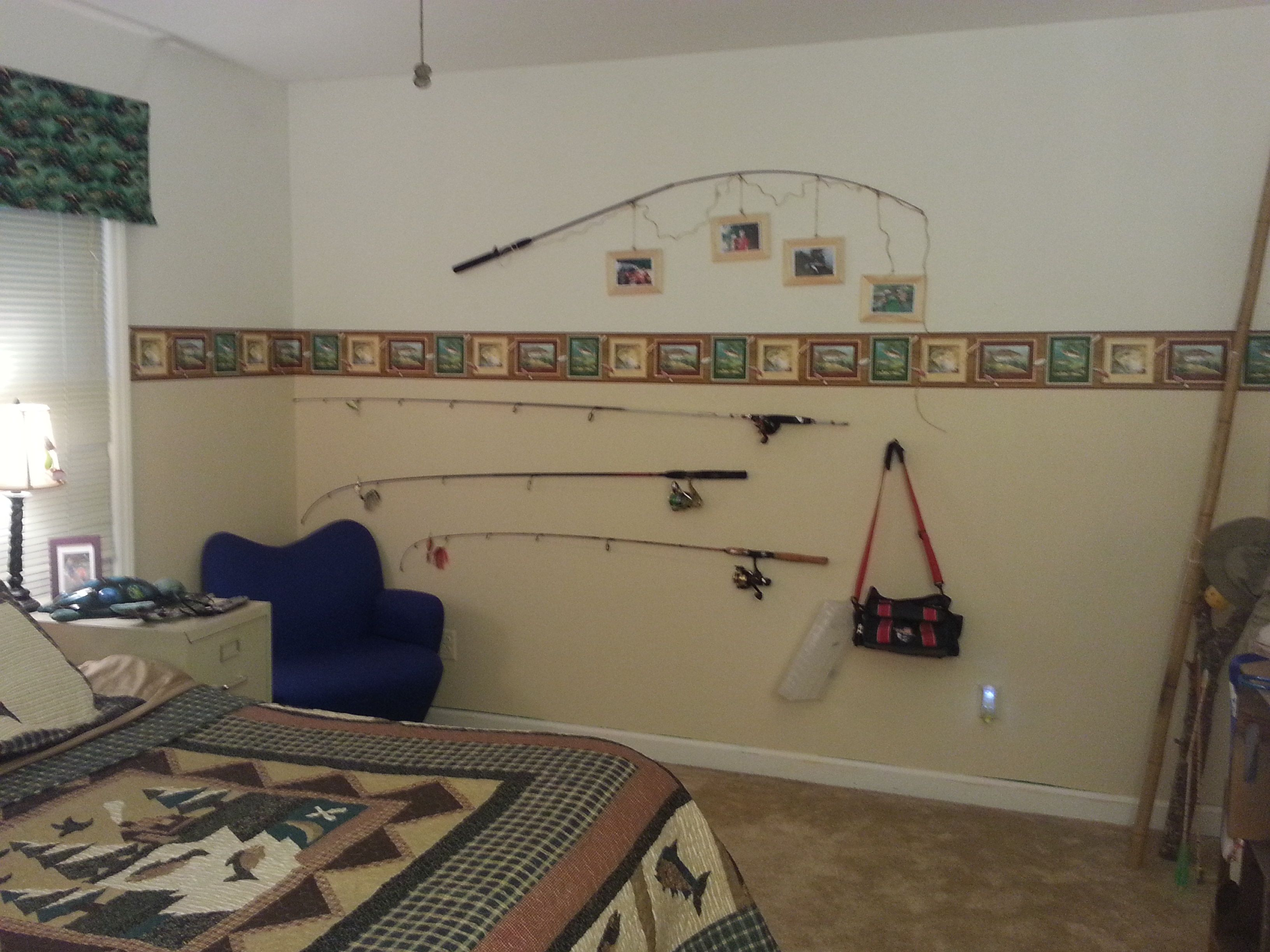 Fishing Theme Boys Bedroom Want To Do The Top Fishing Rod Picture Frames Fishing Themed Bedroom Fishing Bedroom Boys Room Decor
