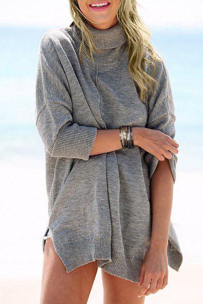 Stylish Turtleneck Long Sleeve Gray Side Slit Loose-Fitting ...