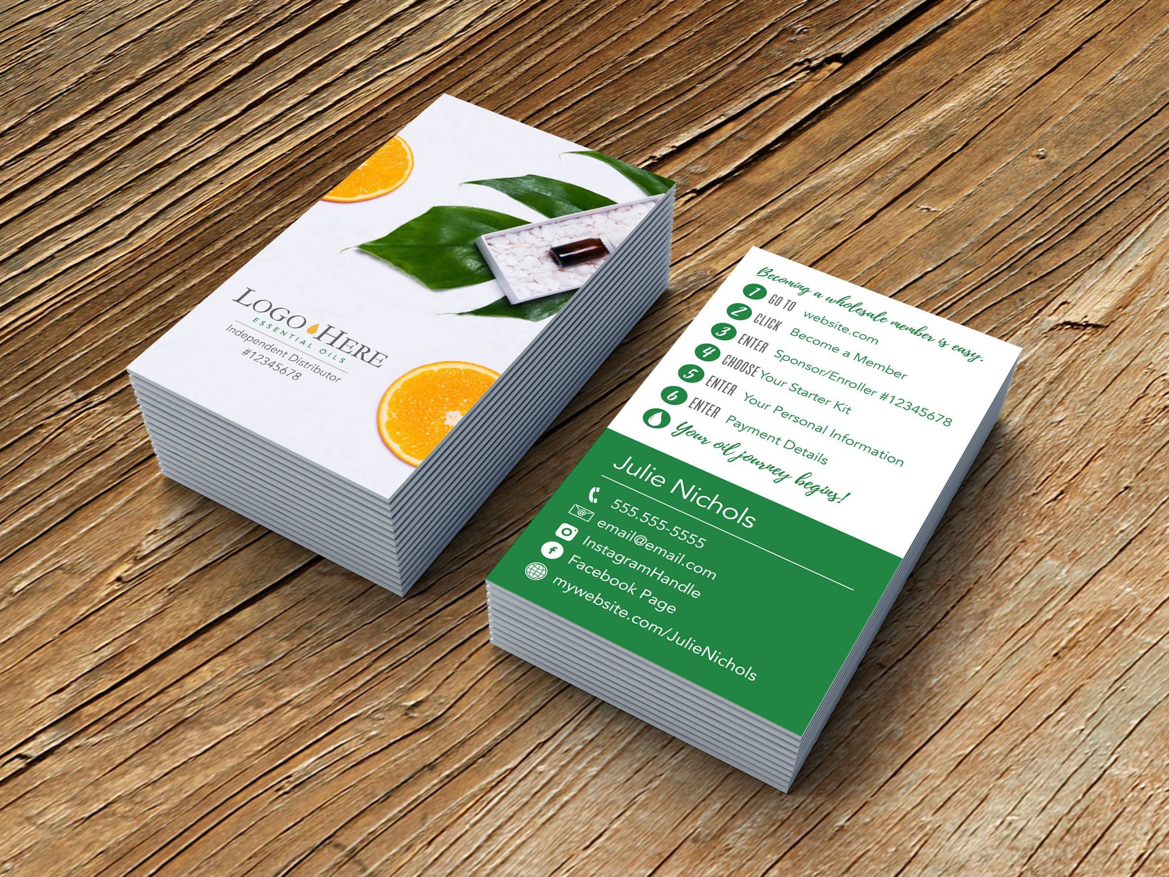 Citrus Orange Business Card Design with Sign Up Instructions ...