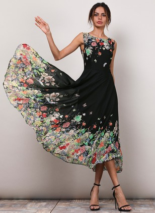 45705f4ccdc5 Floral Boat Neckline Sleeveless Midi A-line Dress - Floryday @ floryday.com