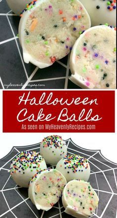 Grab the kids and a few ingredients for these Halloween Inspired Cake Balls. #halloweendesserts