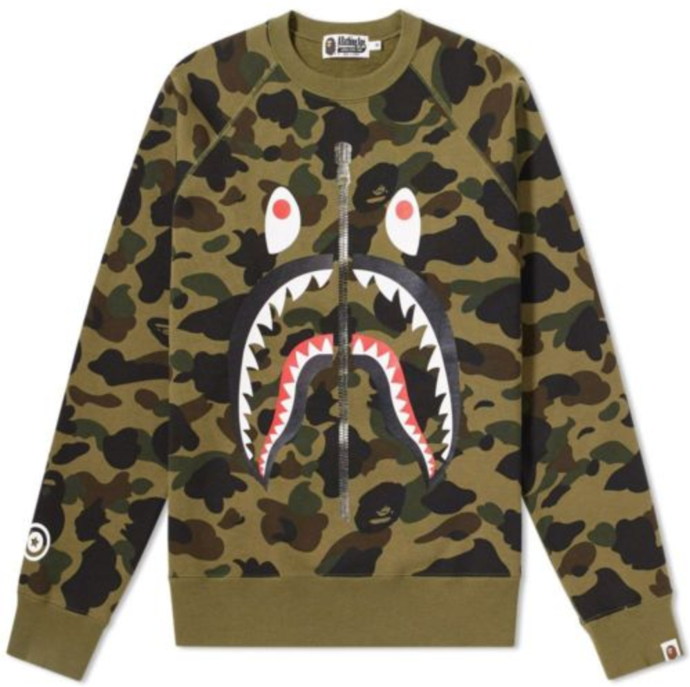 b99b0e7006f9 FOR SALE  100% AUTHENTIC BAPE 1ST CAMO SHARK CREWNECK GREEN BATHING ...