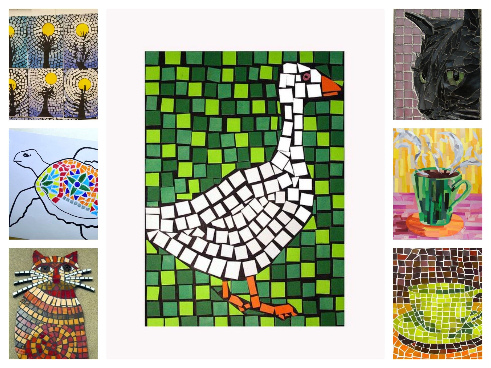 Mosaics Paper card stock newspaper magazines tissue paper
