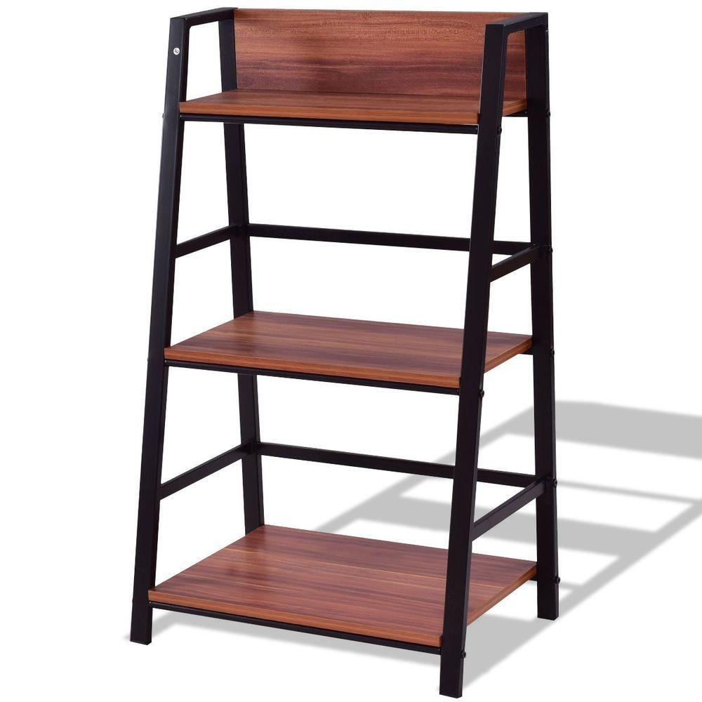 Tier modern ladder bookshelf bookcase den office apontus modern