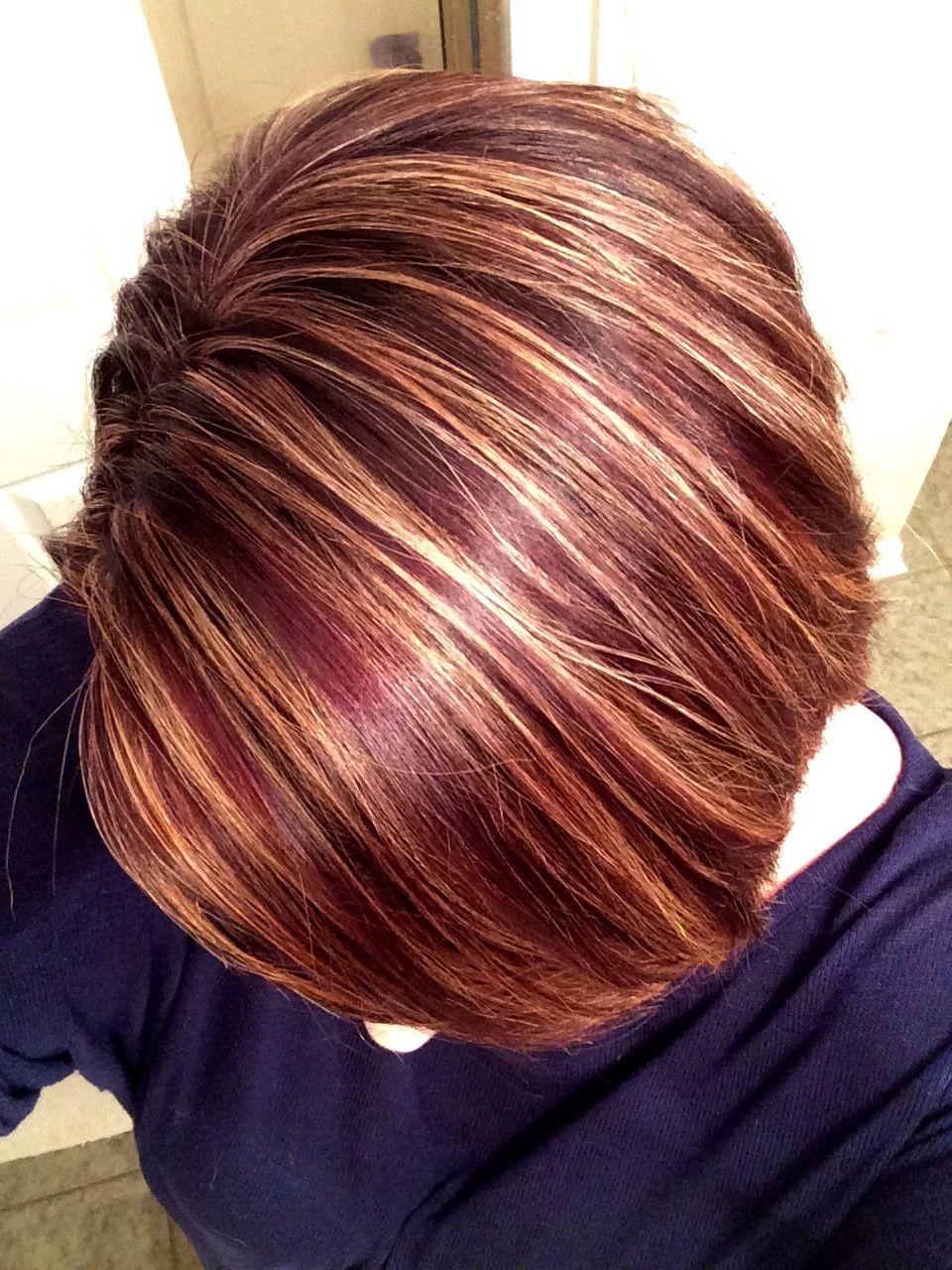 Hair Color Merlot Base With Blonde Highlights Merlot Hair