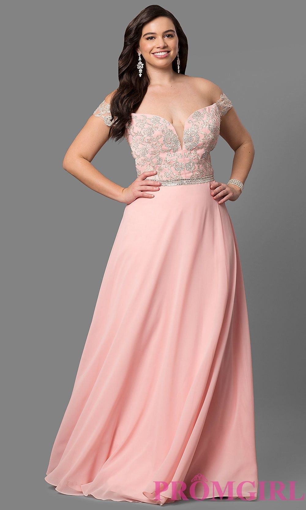 Plus Size Long Prom Dress With Chunky Stone Detail And