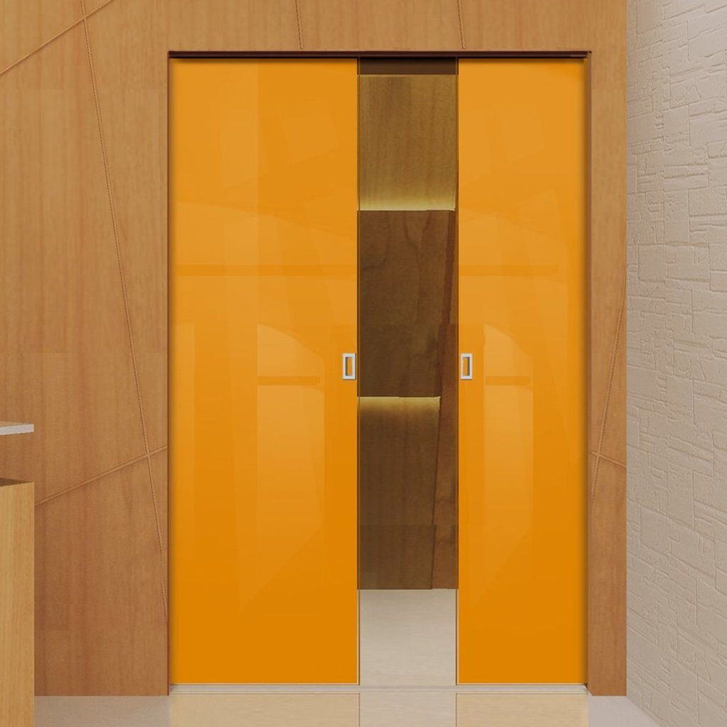 Eclisse mm gloss orange solid colour glass double pocket door