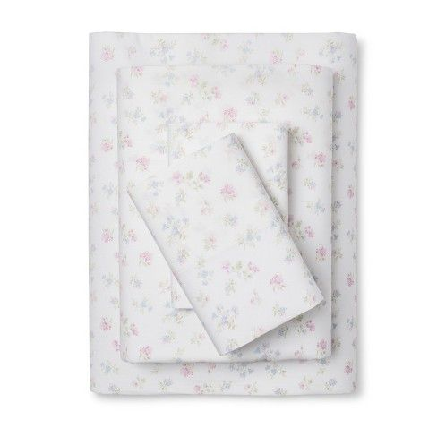 Quality is apparent in the lovely Ditsy Sheet Set from Shabby Chic. This set of bed sheets has mercerized cotton for a gorgeous luster and then double turned hems finish off this dainty floral design.<br><br>We're committed to making products better for you, and the world. This product is Standard 100 by OEKO-TEX certified, meaning that everything from the dyes and fabrics to accessories like buttons and zippers are tested and verified as free from harmful levels of more...