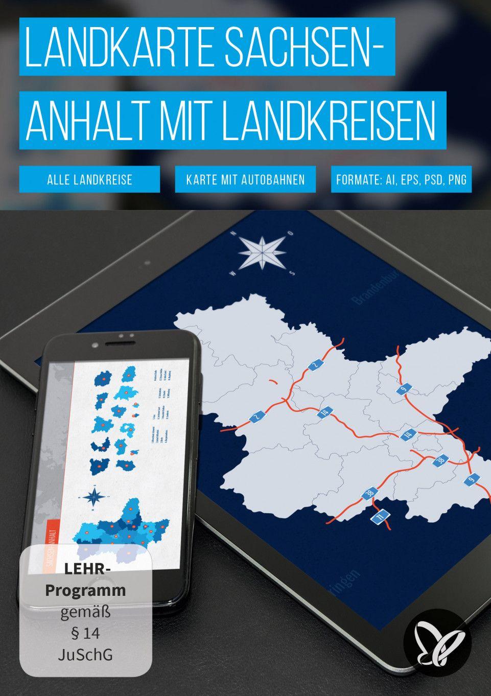 Landkarten Deutschland Bundesland Landkreis Sachsen Anhalt