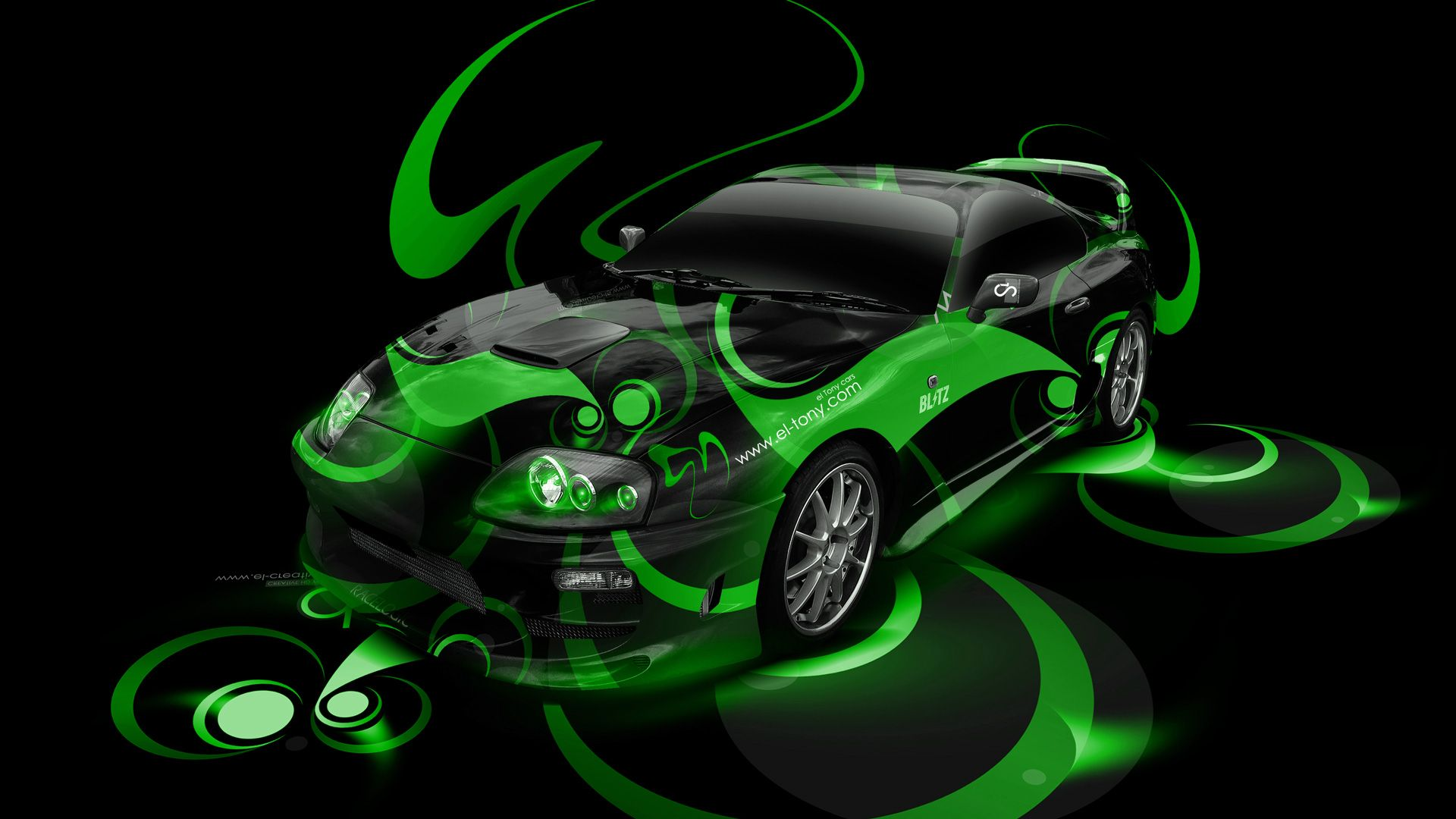 Beau Toyota Supra JDM Super Abstract Car 2014 Green