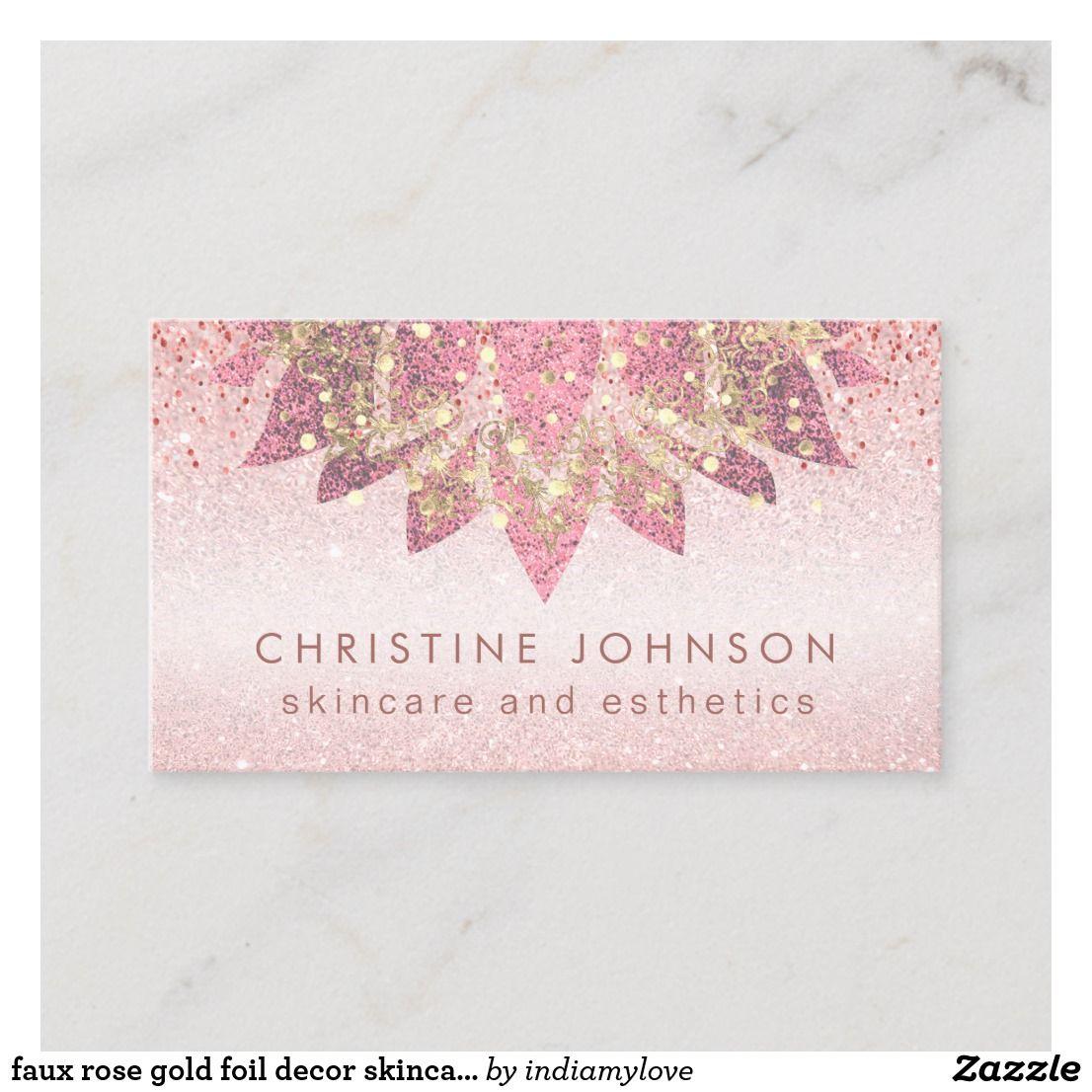 Faux Rose Gold Foil Decor Skincare And Esthetics Business Card Zazzle Com In 2021 Glitter Business Cards Foil Decor Rose Gold Business Card