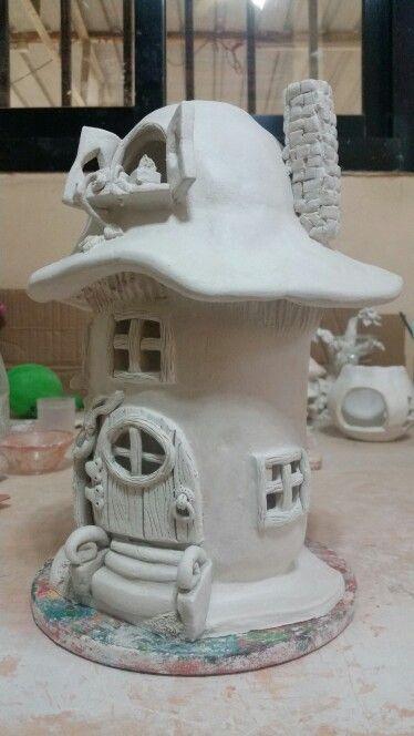 Air dry clay mushroom house | ceramic works | Clay fairy ...