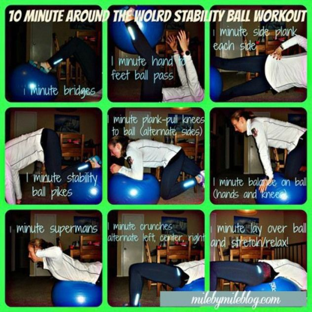 10 Minute Stability Ball Workout for before or after a run. #core #workout #fitness #stabilityball #...