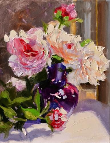 """PEONIES IN PURPLE VASE"" - Original Fine Art for Sale - © Cecilia Rosslee"