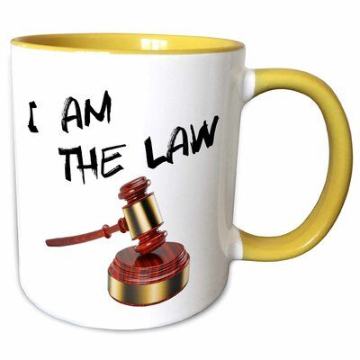 Symple Stuff Coweta I am the Law Judge Gavel with Sound Block Coffee Mug Color: Yellow