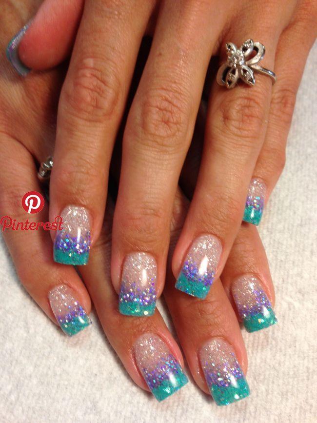Blingy Summer Nails Lt 3 Gel Nails In 2019 Pinterest Nails Summer Nails And Nail Designs Blingy Summer Na Nail Tip Designs Mermaid Nails Nail Designs