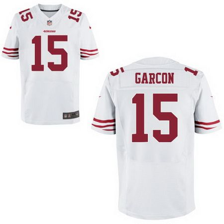 Men's San Francisco 49ers #15 Pierre Garcon White Road Stitched NFL Nike Elite Jersey