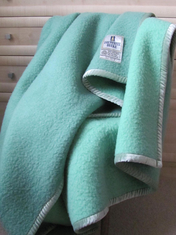 Vintage Zoeppritz Wool Blanket Woolen Blanket Mint Geen