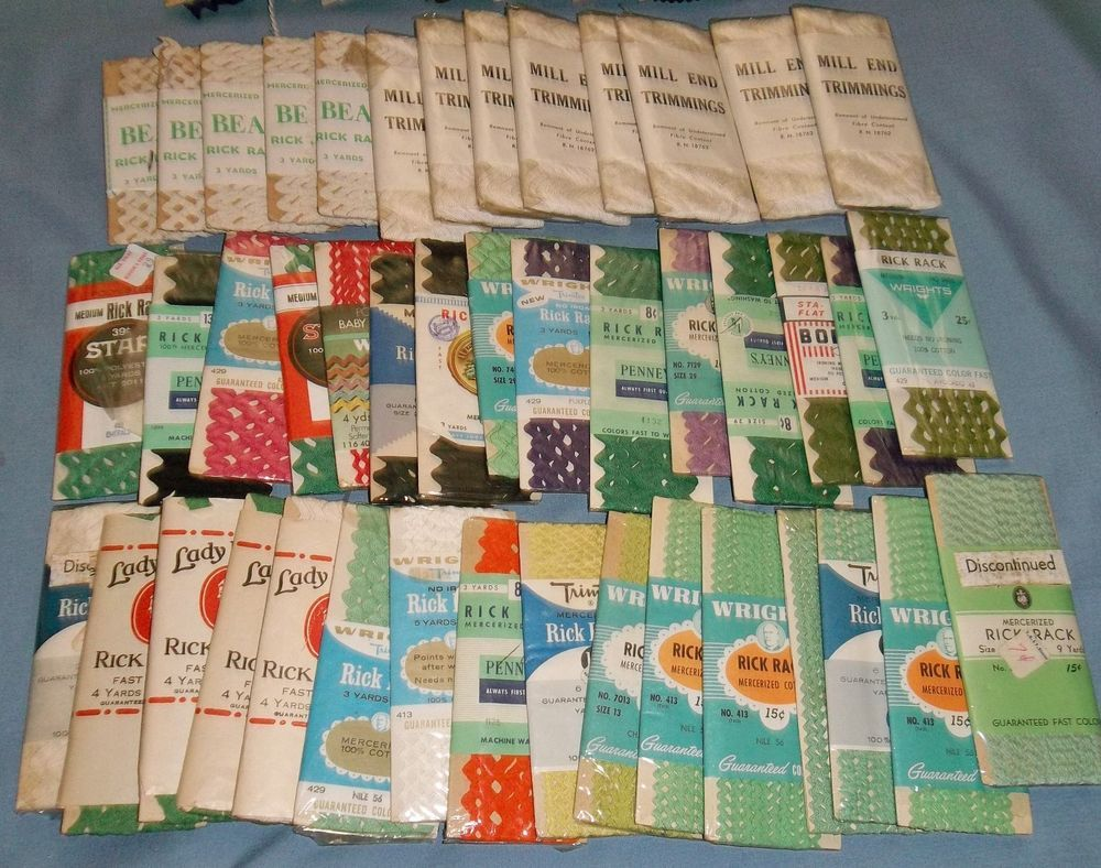 Huge Lot of 44+ Vintage Rick Rack Multi Colors & Widths Mostly Wrights  #Wrights  M.Taylor: OMG !! Over 150 yards of ric-rac here! And all the packages of white I could dye any color I want!! I really have to think about this cuz I could do a lot of crafts and sewing with this?  Maybe I could sell all my hem tape and binding to cover this