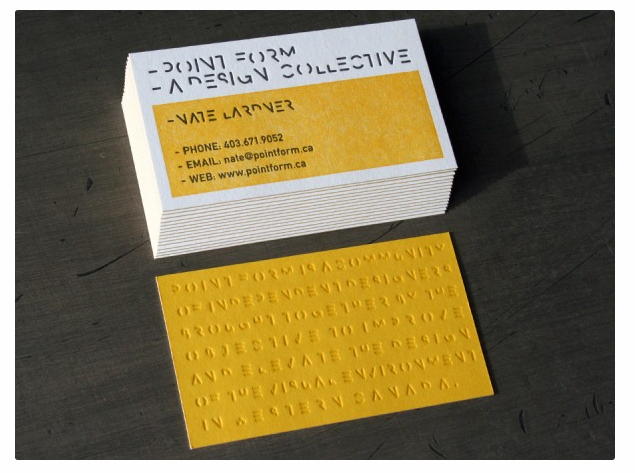 25 brilliant letterpress business cards brilliant letterpress the paper used on the point form business card is a french poptone sweet tooth custom pasted duplexed after printing to french poptone lemon drop for a colourmoves