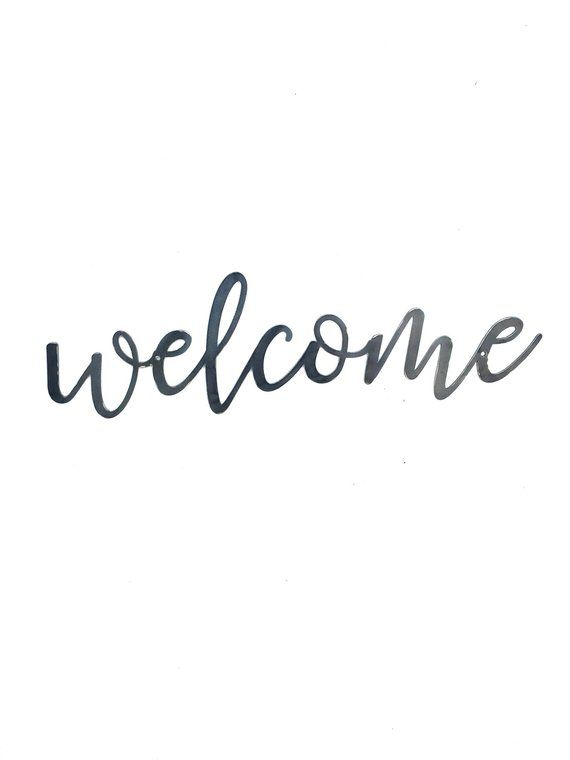 WELCOME, Script Metal Word Wall Expressions, Cursive words, Metal