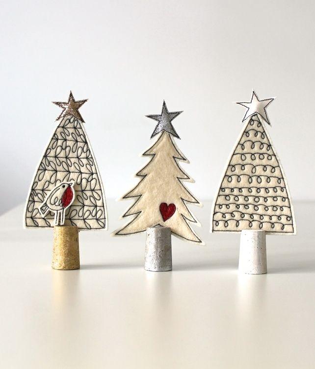 Three Wool Felt Christmas Trees
