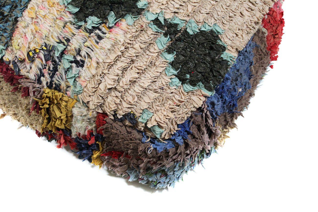 Moroccan Boucherouite Pouf, Floor Cushion, Rug Pouffe, Vintage Pouf ...
