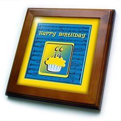 """14th Birthday Cupcake on Music Notes, Blue and Yellow - 8x8 Framed Tile by 3dRose. $22.99. Cherry Finish. Solid wood frame. Dimensions: 8"""" H x 8"""" W x 1/2"""" D. Inset high gloss 6"""" x 6"""" ceramic tile.. Keyhole in the back of frame allows for easy hanging.. 14th Birthday Cupcake on Music Notes, Blue and Yellow Framed Tile is 8"""" x 8"""" with a 6"""" x 6"""" high gloss inset ceramic tile, surrounded by a solid wood frame with pre-drilled keyhole for easy wall mounting.. Save 15%!"""