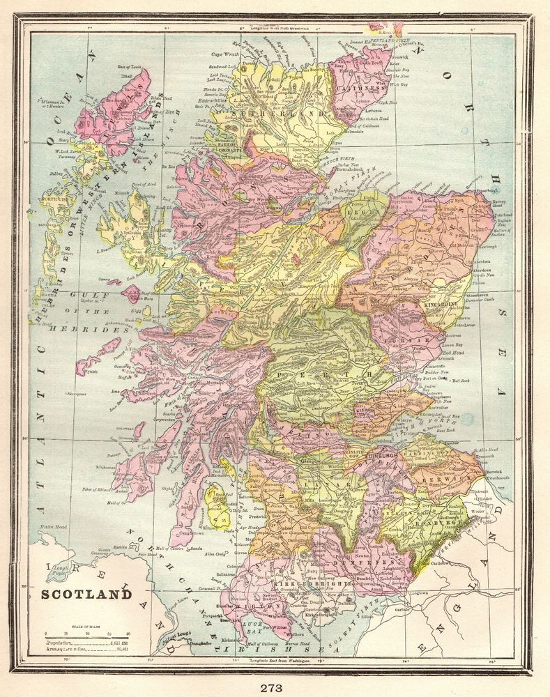 1900 Antique SCOTLAND MAP Gallery Wall Art Vintage Map of Scotland ...