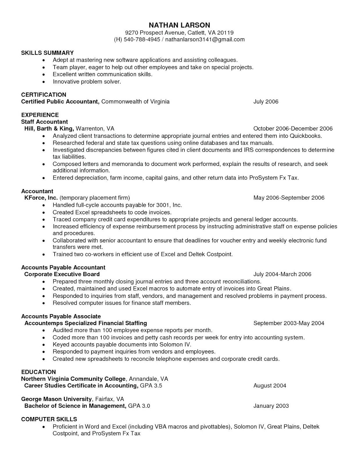 Accounts Payable Resume Format Accounts Payable Resume Format In India Accounts Payable Resume Format For B Best Resume Template Resume Templates Resume Format