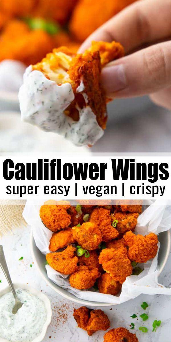 Cauliflower Buffalo Wings with Vegan Ranch Dip
