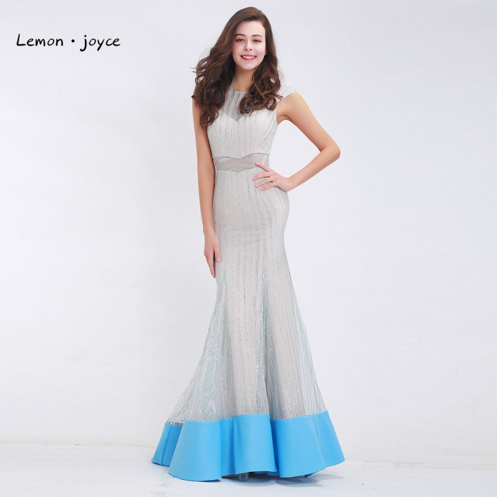 Luxury Sliver Evening Dress Long Mermaid O-neck Cap Sleeve See ...