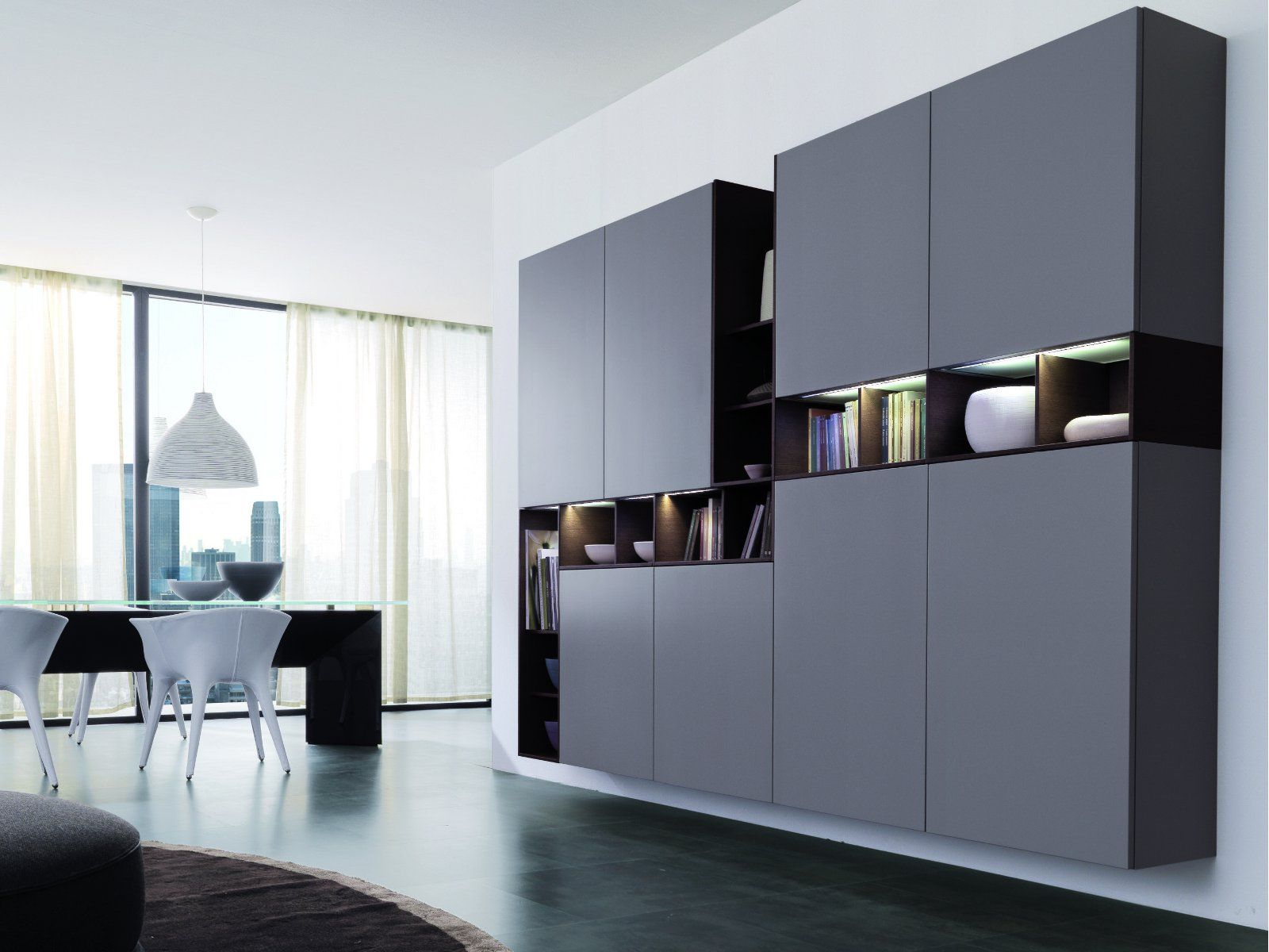Lacquered suspended highboard UNOEDUE - Euromobil ...