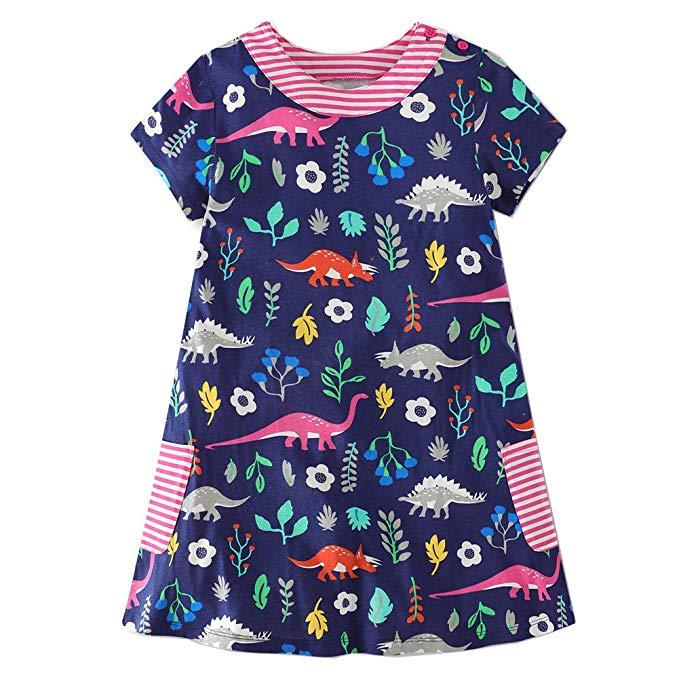Toddler Kids Girls Casual Party Dresses Tunic Dress Summer Short Sleeve T-shirt