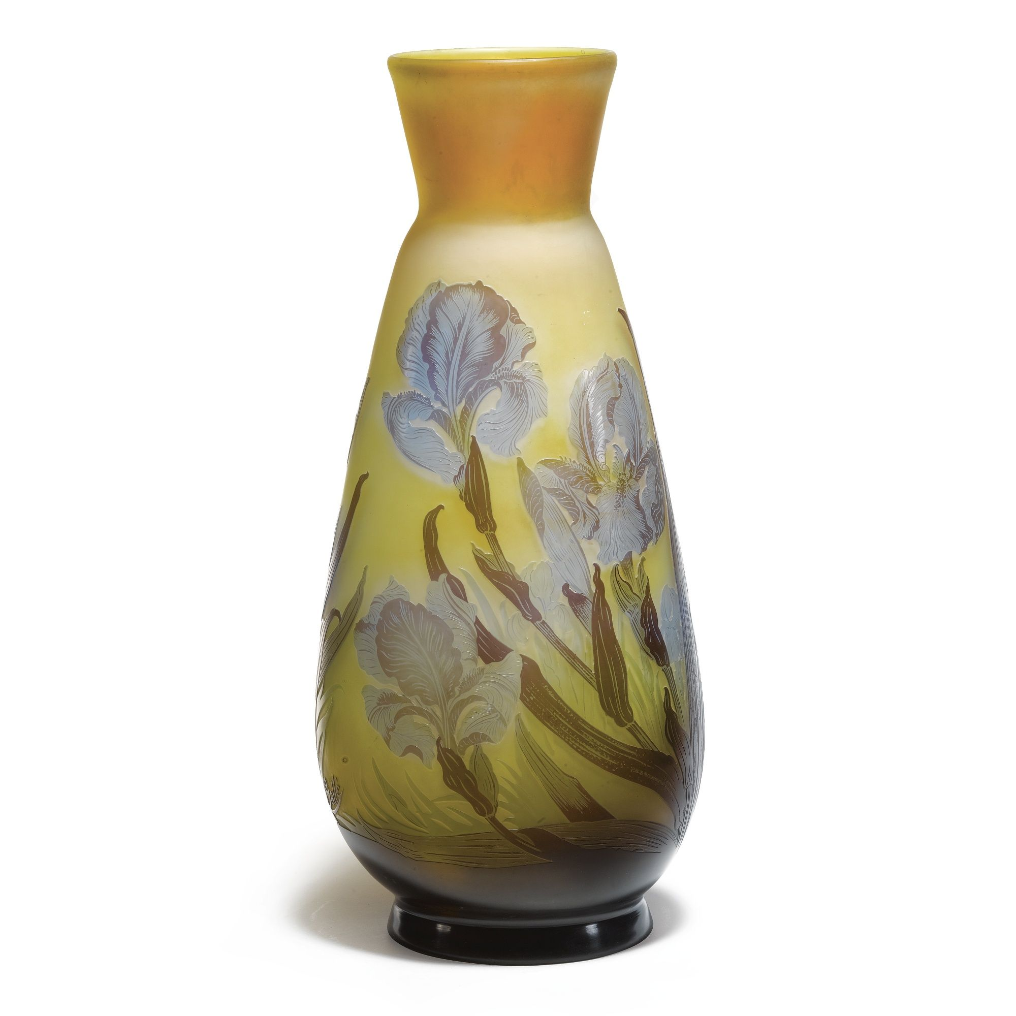 Emile Gall A Large `Iris Vase Internally Decorated Cameo Glass