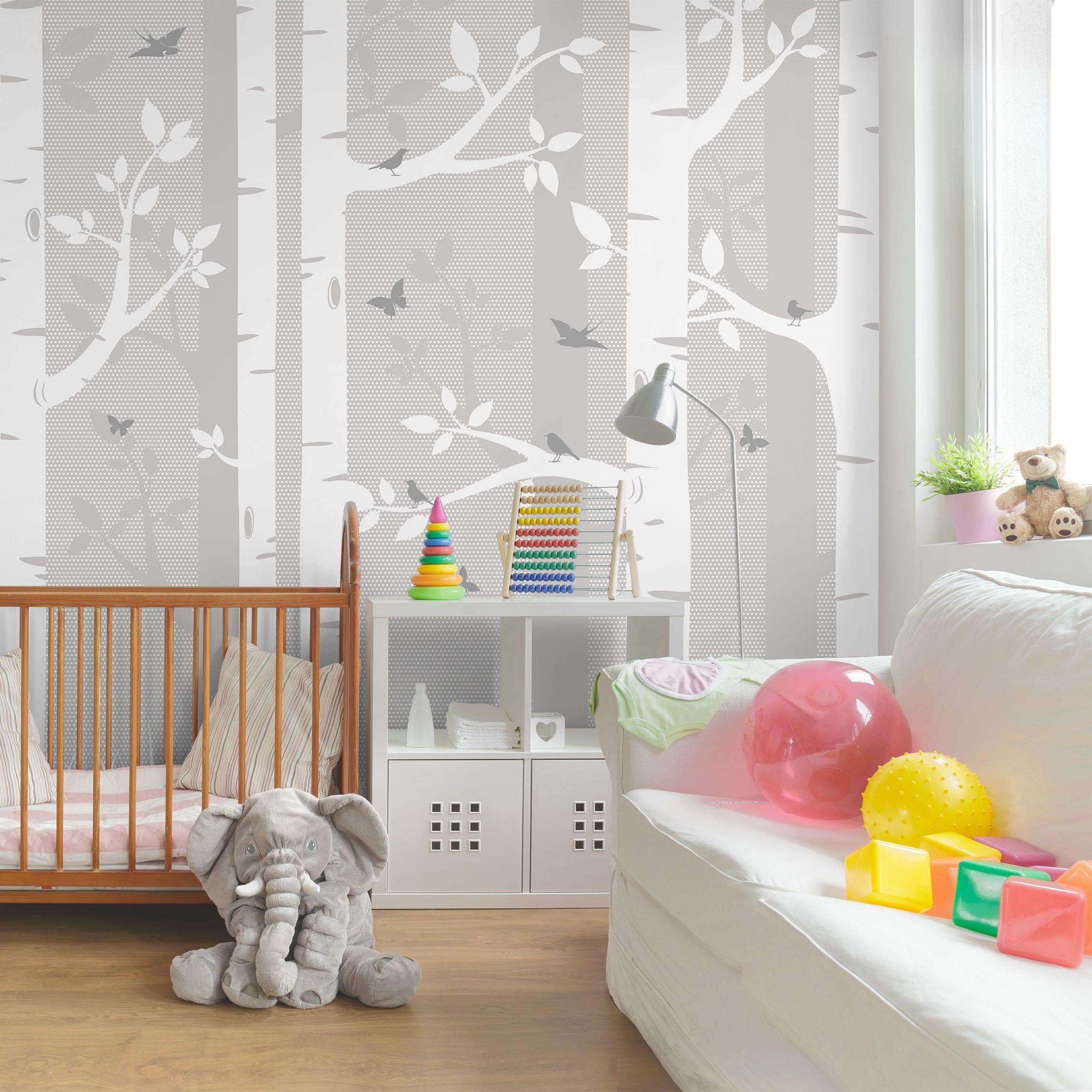 fototapete wald - birkenwald mit schmetterlingen und vögel grau, Wohnzimmer dekoo