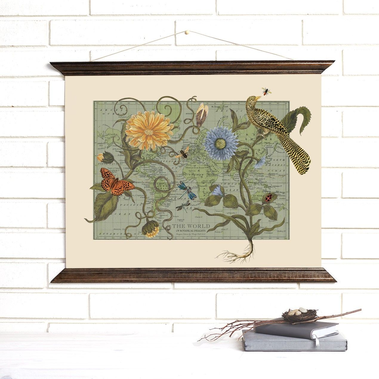 Botanical delights wood bound canvas wall hanging by wendy gold botanical delights wood bound canvas wall hanging by wendy gold maps botanicals gumiabroncs Images