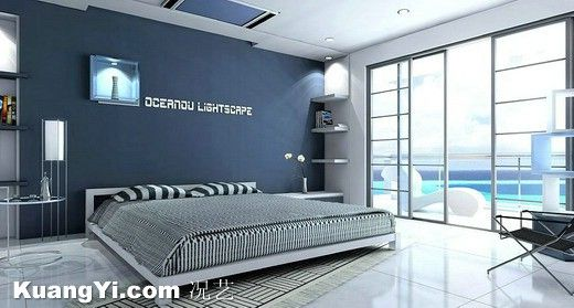 [Modern] Concise Generous Floor Tiles Painted Blue Wall Bedroom Modern  Indoor View